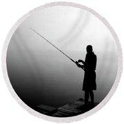 Fishing In Fog Round Beach Towel