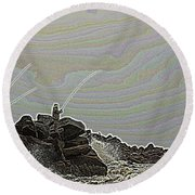 Fishing In The Twilight Zone Round Beach Towel