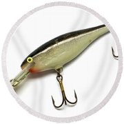 Fishing Lure Isolated On White Round Beach Towel