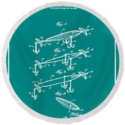 Fishing Lure Patent 1904 Green Round Beach Towel