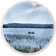 Fishing On Lake Carmi Round Beach Towel
