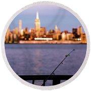 Fishing On The Hudson Round Beach Towel