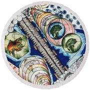 Fishing Over The Object Round Beach Towel