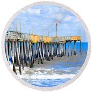 Fishing Pier 4 Round Beach Towel