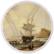 Fishing Scene, Teignmouth Beach And The Ness, 1831 Round Beach Towel