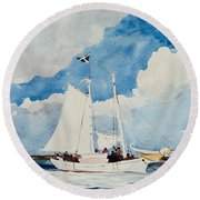 Fishing Schooner In Nassau Round Beach Towel