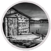 Fishing Shack And Wharf In Norris Point, Newfoundland Round Beach Towel