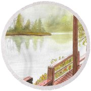 Fishing Spot Round Beach Towel