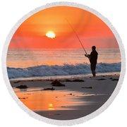 Fishing The Golden Dawn Round Beach Towel