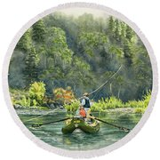 October Morning Fishing The Trinity River Round Beach Towel