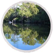 Fishing The Withlacoochee River. Round Beach Towel