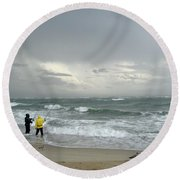 Fishing Through The Storm - Diamond Shoals Nc Round Beach Towel
