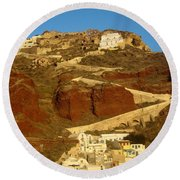 Fishing Town On A Hill Round Beach Towel
