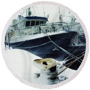 Fishing Trawler, Howth Harbour, Co Round Beach Towel