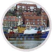 Fishing Trawler - Whitby Round Beach Towel