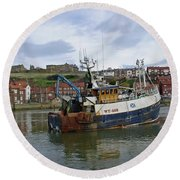 Fishing Trawler Wy 485 At Whitby Round Beach Towel by Rod Johnson