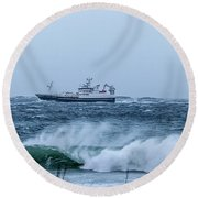 Fishing Vessel Round Beach Towel