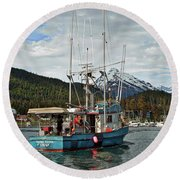 Fishing Vessel Chinak Round Beach Towel