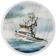 Fishing Vessel Devotion Round Beach Towel