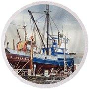 Fishing Vessel Ranger Drydock Round Beach Towel