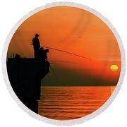 Morning Fishing 2 Round Beach Towel