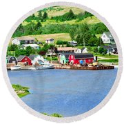 Fishing Village In Prince Edward Island Round Beach Towel