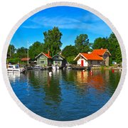 Fishing Village Of Vaxholm Sweden Round Beach Towel