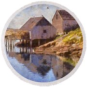 Fishing Wharf Round Beach Towel