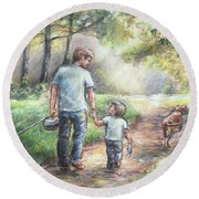 Fishing With My Dad  Round Beach Towel by Laurie Shanholtzer
