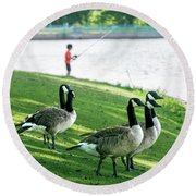 Fishing With The Geese Round Beach Towel