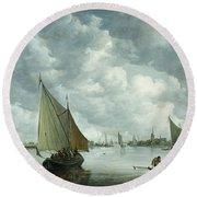 Fishingboat In An Estuary Round Beach Towel by Jan Josephsz van Goyen