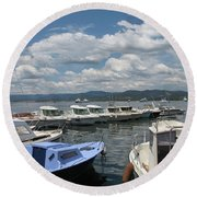 Fishingboats Round Beach Towel