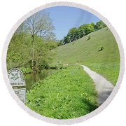 Fishpond Bank At Wolfscote Dale Round Beach Towel