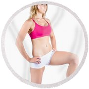 Fitness Woman Stretching Over White Round Beach Towel