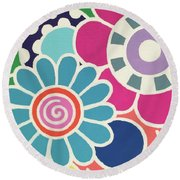 Five Blooms Round Beach Towel