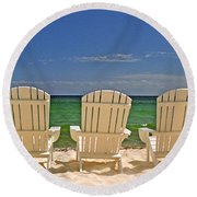 Five Chairs On The Beach Round Beach Towel