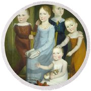 Five Children Of The Budd Family Round Beach Towel
