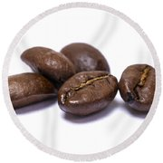 Five Coffee Beans Isolated On White Round Beach Towel