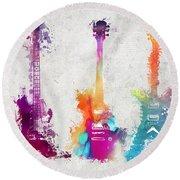 Five Colored Guitars Round Beach Towel