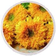 Five Exotic Sunflowers Round Beach Towel