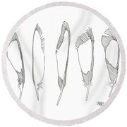 Five Feathers Round Beach Towel
