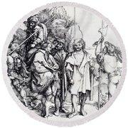 Five Lansquenets And An Oriental On Horseback 1495 Round Beach Towel