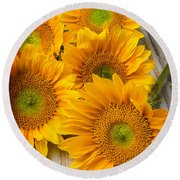 Five Moody Sunflowers Round Beach Towel