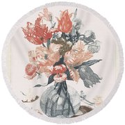 Five Prints With Flowers In Glass Vases, Anonymous, After Jean Baptiste Monnoyer, 1688 - 1698 Round Beach Towel