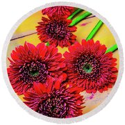 Five Red Dasies Round Beach Towel
