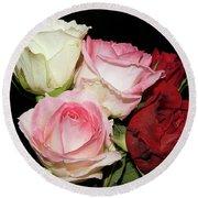 Five Roses Round Beach Towel
