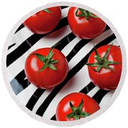 Five Tomatoes  Round Beach Towel by Garry Gay