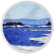 Fjord At Christiania Round Beach Towel