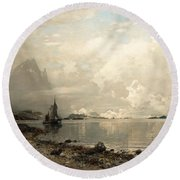 Fjord Landscape With Figures Round Beach Towel