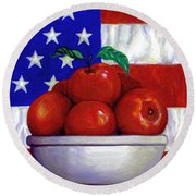 Flag And Apples Round Beach Towel